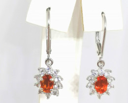 Jalisco Fire Opal and Zircon Earrings 1.50 TCW