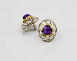 Amethyst Leopard Print Ear Clips, 18k Yellow Gold & Sterling Silver