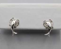 Catfish Earrings Handcrafted in Sterling Silver, Screw Backs