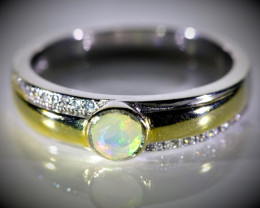 White Opal .40ct Golden Rhodium Finish Solid 925 Sterling Silver Mens Ring
