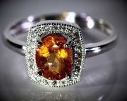 Orange Tourmaline 1.10ct White Gold Finish Solid 925 Sterling Silver Ring