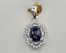 Natural Kyanite, CZ and 925 Silver Pendant, Elegant Design