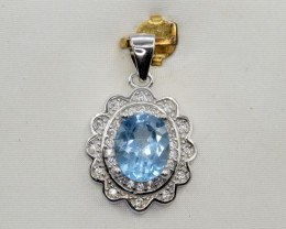 Natural Topaz, CZ and 925 Silver Pendant, Elegant Design