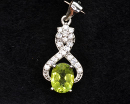 Natural Green Peridot 14.51 Cts CZ and  Silver Pendant