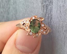 14K Rose Gold Authentic Green Moldavite Diamond Engagement Ring
