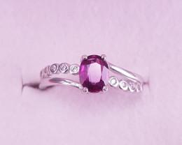 Natural Rhodolite Garnet Ring.