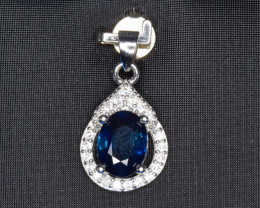 Heated Natural Blue Sapphire, CZ and 925 Silver Pendant, Elegant Design