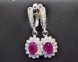 Heated Natural Ruby, CZ and 925 Silver Earring, Elegant Design
