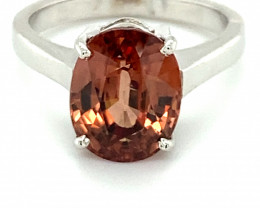 Imperial Zircon 7.65ct Solid 18K White Gold Ring