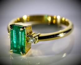 Panjshir Emerald 1.47ct Natural Diamonds Solid 18K Yellow Gold Multistone R
