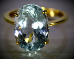 Aquamarine 7.81ct Solid 22K Yellow Gold Ring