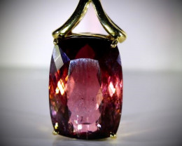 Rubellite 23.33ct Solid 18K Yellow Gold Pendant
