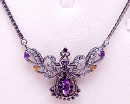 Natural Amethyst,citrine,topaz and CZ Necklace.