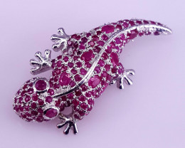 Lizard Natural Ruby Brooch.