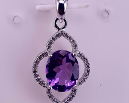 Natural Amethyst and CZ Pendent.
