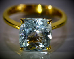 Aquamarine 4.97ct Solid 22K Yellow Gold Ring