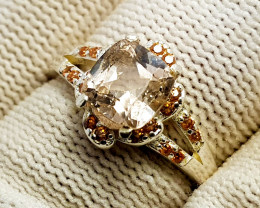 Natural Cushion Cut Topaz CZ Ring 925 Sterling Silver