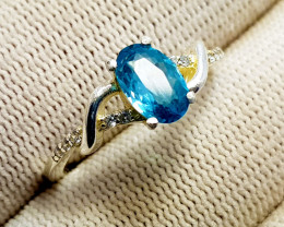 Natural Blue Zirkon Or Zircon (Zircon Starlite) - 925 Sterling Silver Ring