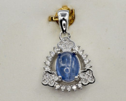 Natural Kyanite, CZ and 925 Silver Pendant, Elegant Design