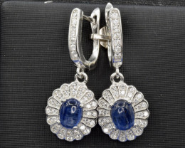 Natural Kyanite, CZ and 925 Silver Earring, Elegant Design
