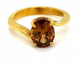Orange Zircon 5.00ct Solid 18K Yellow Gold Ring