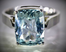 Aquamarine 5.04ct Solid 18K White Gold Ring