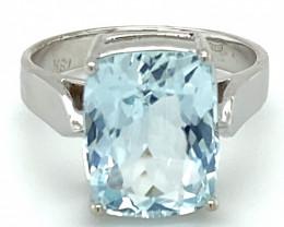 Aquamarine 5.04ct Solid 18K White Gold Ring