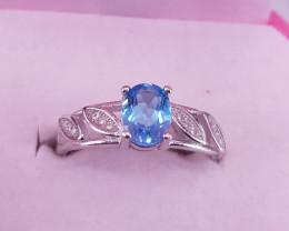 Natural Blue Topaz Ring.