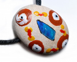 ABORIGINAL PAINTING ON  OPAL PENDANT-ADJ STRAP [SJ4822]