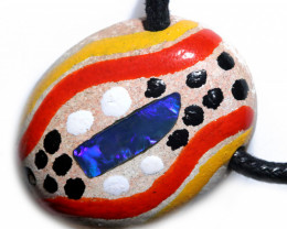 ABORIGINAL PAINTING ON  OPAL PENDANT-ADJ STRAP [SJ4824 ]
