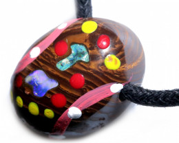 ABORIGINAL PAINTING ON  IRONSTONE OPAL PENDANT-ADJ STRAP [SJ4830]