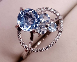 Nature topaz ring with CZ