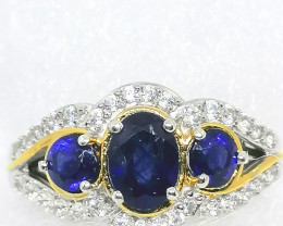 Sapphire and Zircon Ring 1.90 TCW