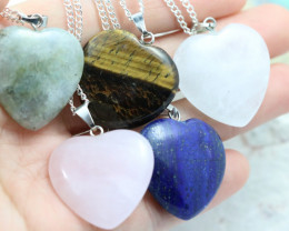 Promotional Five  Heart Shape Gemstone Pendants for Lovers  NA 663