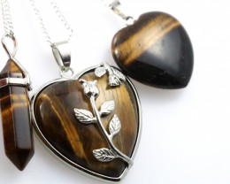 3 promotional Earthly Tigers Eye jewelry set NA 668