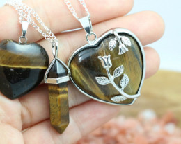 3 promotional Earthly Tigers Eye jewelry set NA 670
