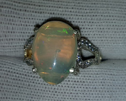 Natural Fire Opal 15.90 Carats 925 Starling Silver CZ Ring I80