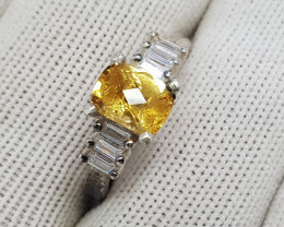 Natural Yellow Citrine 17.85 Carats 925 Starling Silver CZ Ring I81