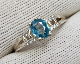 Natural Blue Zircon 11.10 Carats 925 Starling Silver CZ Ring N81