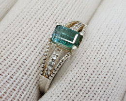 Natural Green Tourmaline 9.95 Carats 925 Starling Silver CZ Ring N82