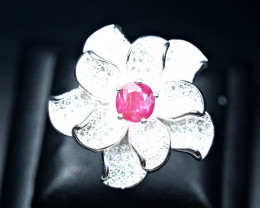 47.73Carats Natural Ruby 925 Silver flower design Ring Size -8