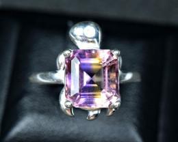 21.24 Carats Natural bi color Ametrine 925 Silver Ring Size -8