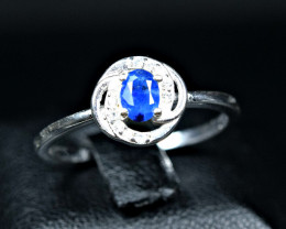 8.51 Carats Natural top blue Afghanite 925 Silver Ring Size -8