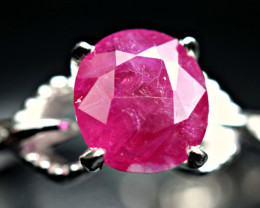 Natural top color Tajik Ruby 925 Silver Ring Size -8