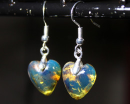Exquisite Natural Clear Sky Blue Amber .925 Sterling Silver Heart Earrings