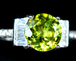 12.40Carats Natural Sphene 925 Silver Ring Size -8