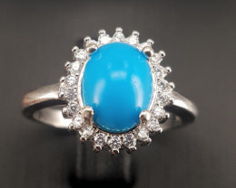 Natural Turquoise with CZ Ring.