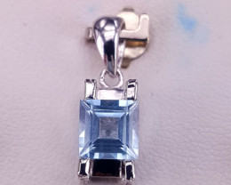 Natural topaz with CZ pendent