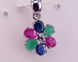 Natural emerald Ruby and Sapphire Pendent.