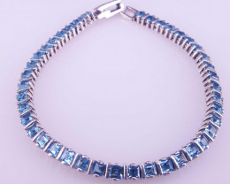 Natural Swiss Blue Topaz Bracelet.